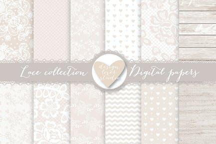 Spitze digitale Papiere, Beige Hochzeit digital