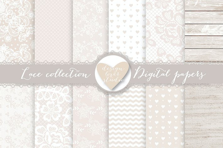 Thumbnail for Lace digital papers, Beige wedding digital