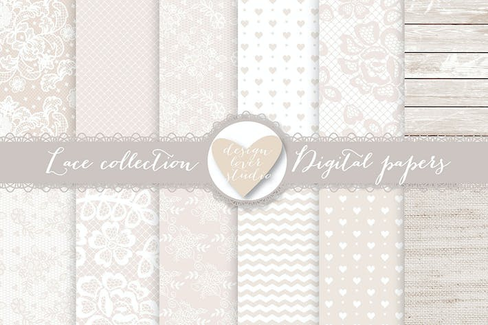 Thumbnail for Papel Digital de encaje, Beige Boda Digital