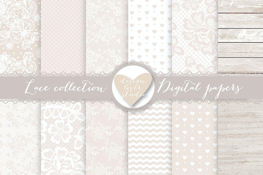 Lace digital papers, Beige wedding digital