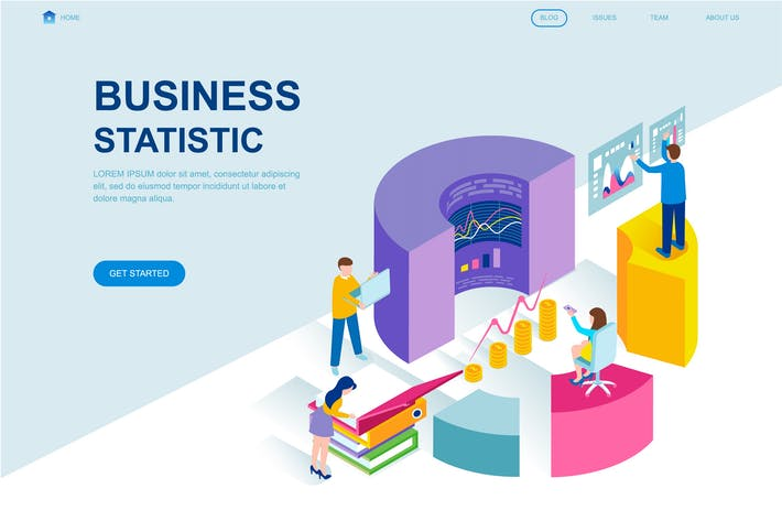 Thumbnail for Business Statistic Isometric Landing Page Template