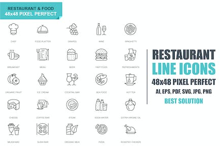 Simple Set Restaurant and Food Line Icons
