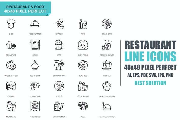 Thumbnail for Simple Set Restaurant and Food Line Icons
