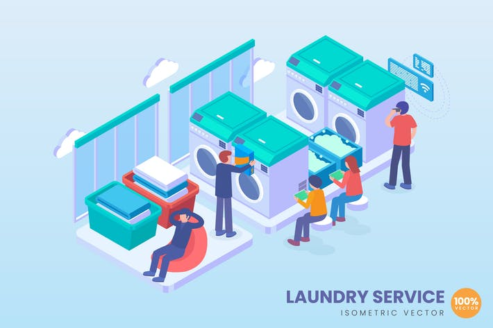 Thumbnail for Isometric Laundry Service Concept