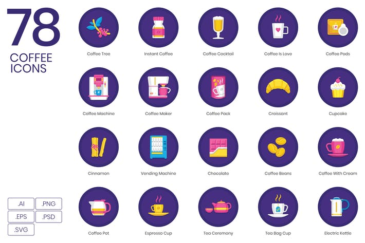 Thumbnail for 78 Coffee Icons | Orchid Series
