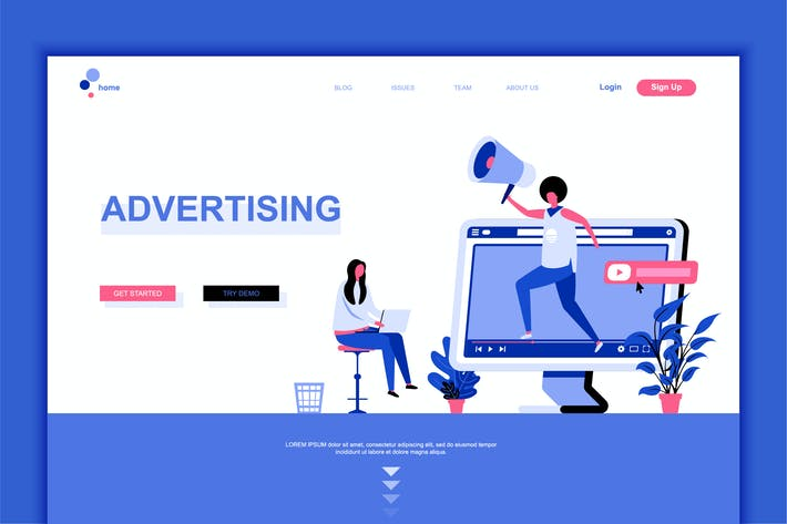Thumbnail for Advertising Flat Landing Page Template