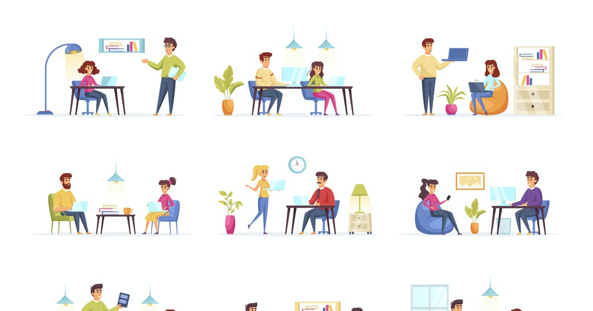 Download Coworking Office People Character Situation Scenes by alexdndz