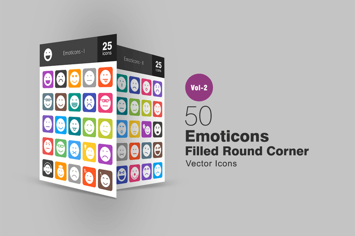 Cover Image For 50 Emoticons Filled Round Corner Icons