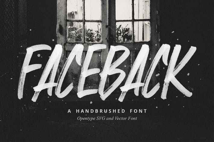 Thumbnail for Faceback - SVG Brush Font