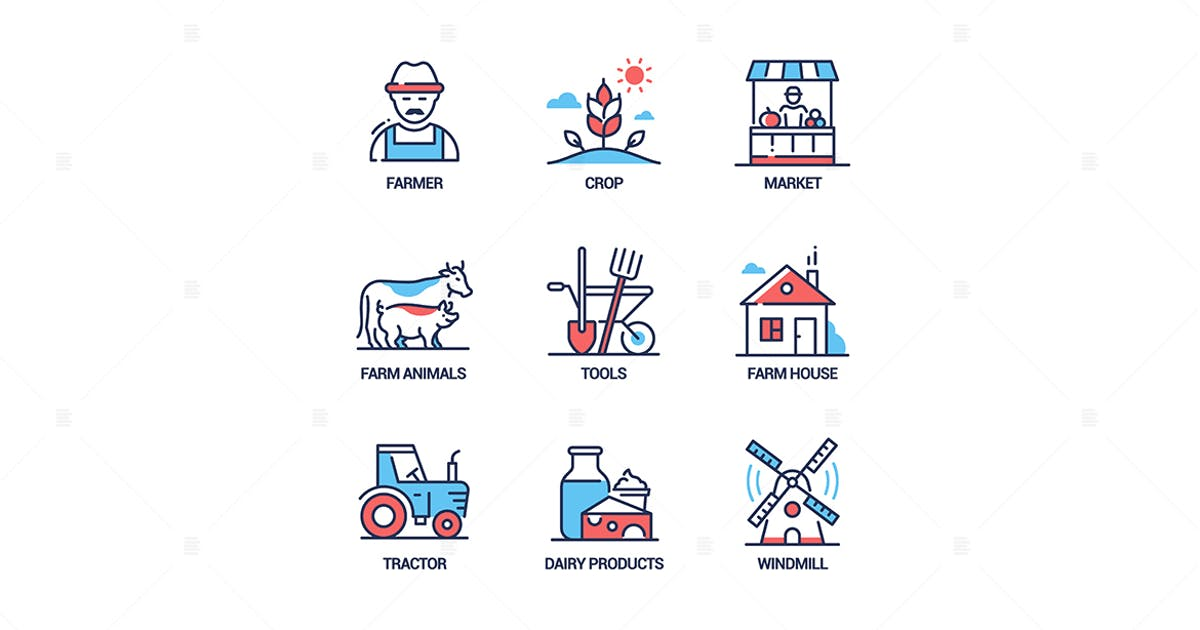 Download Farming - modern colorful line design style icons by BoykoPictures