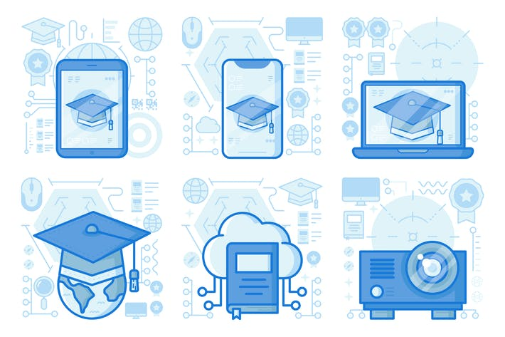 Thumbnail for Education on Smartphone UI UX Illustrations
