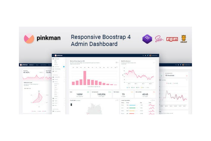 Thumbnail for Pinkman - Bootstrap 4 Admin Dashboard Template