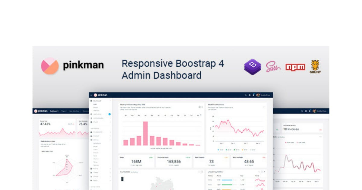 Download Pinkman - Bootstrap 4 Admin Dashboard Template by Hencework