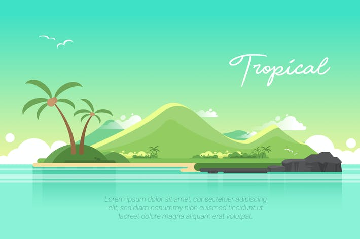 Thumbnail for Tropical - Vector Landscape & Building