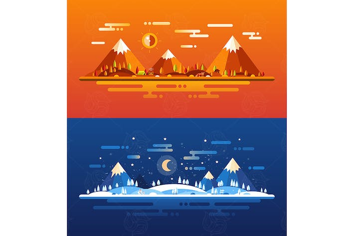 Thumbnail for Set of modern flat design conceptual landscapes