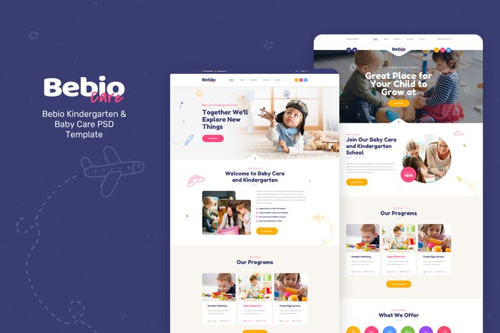 Thumbnail for Bebio - Kindergarten & Baby Care PSD Template