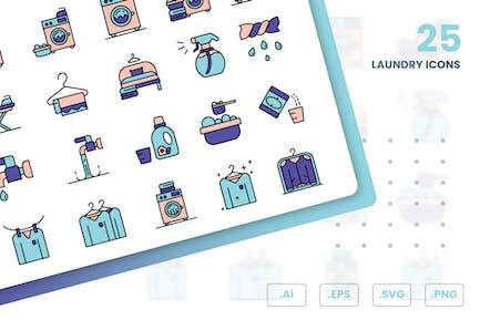 Laundry Shop Icons Set