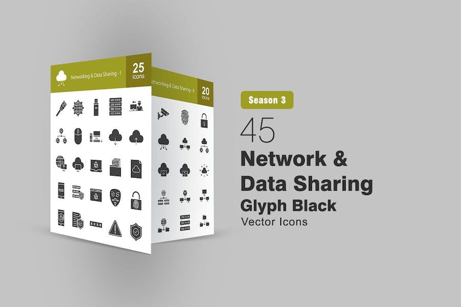 45 Glyphen-Symbole für Netzwerk- und Datenfreigabe