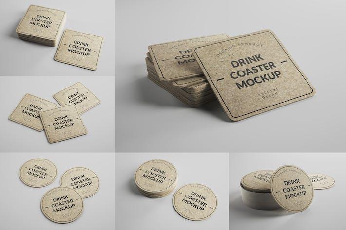 Thumbnail for Cork Drink Coaster Mockups