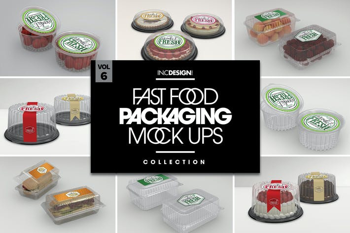 Thumbnail for Fast Food Boxes Vol.6: Take Out Packaging Mockups