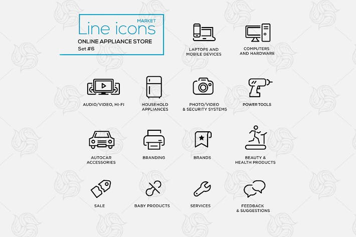 Thumbnail for Online appliance store line design style icons set