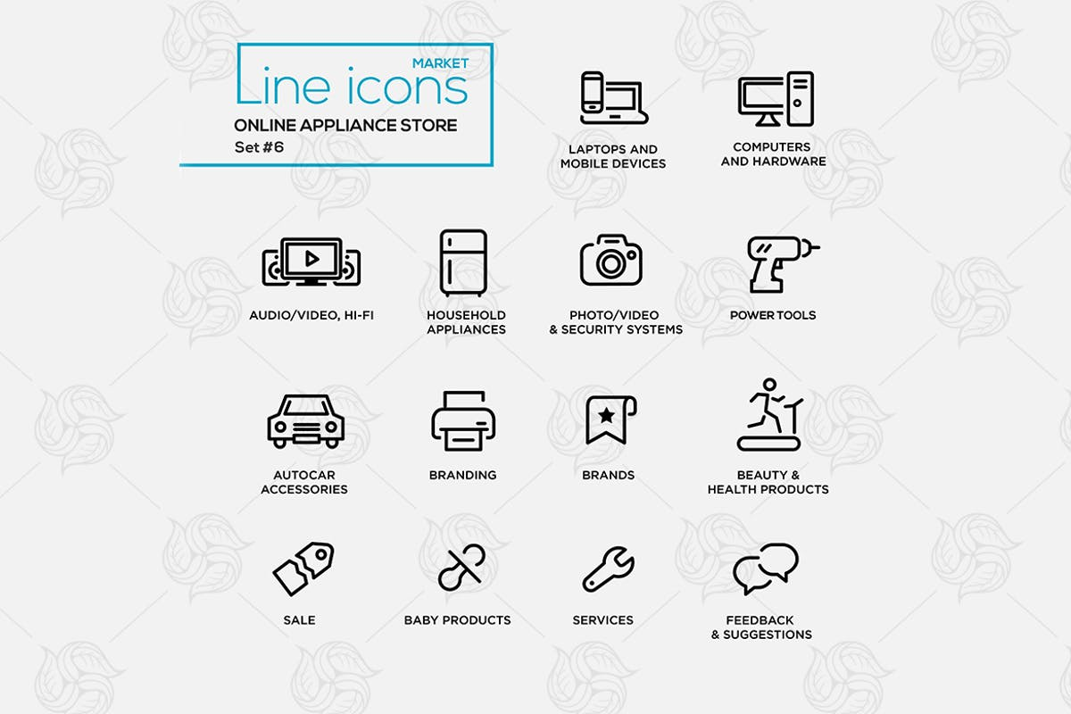 Download Online appliance store line design pictograms set by BoykoPictures by Unknow