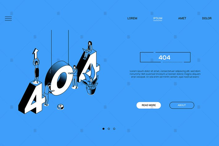 Thumbnail for 404 error page isometric banner