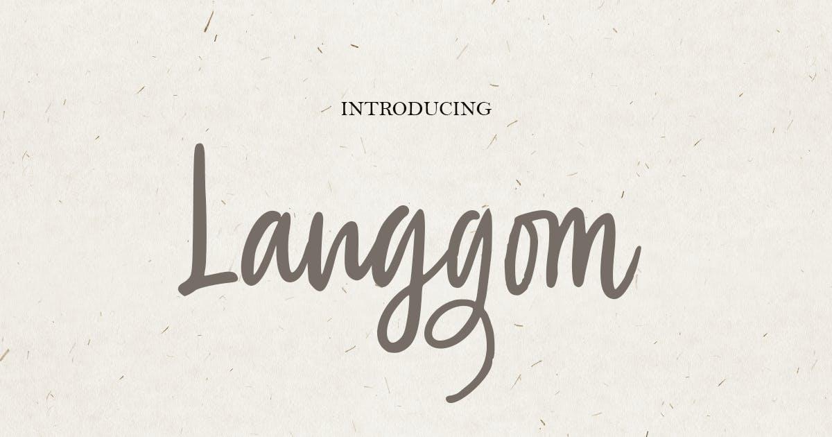 Download Langgom - Curly Unique Handwritten Font by HamzStudio