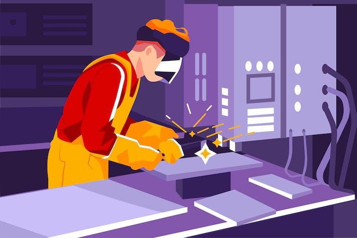 Thumbnail for Man with welding helmet welding steel
