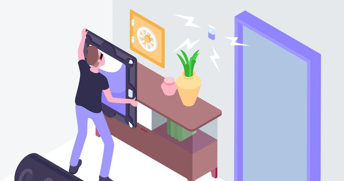 Burglar Smart Alarms Isometric Illustration by angelbi88