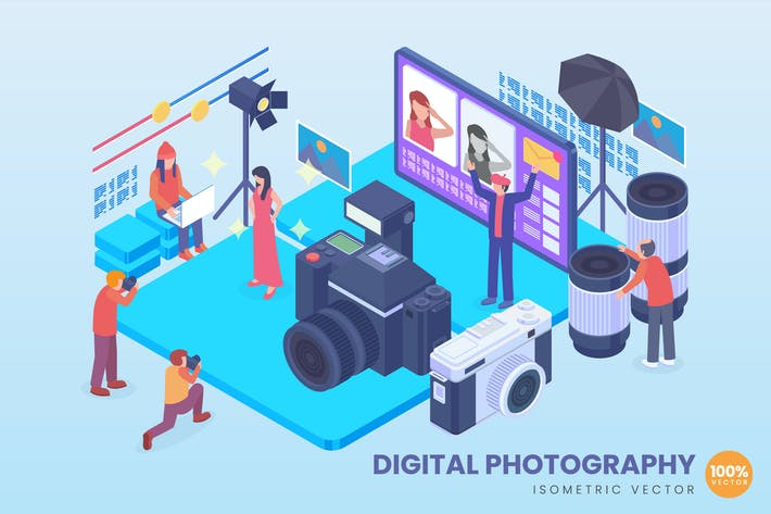 Thumbnail for Isometric Digital Photography Vector Concept