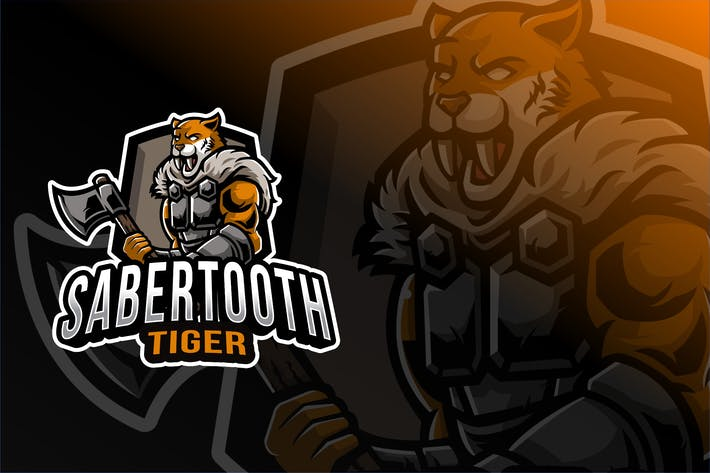 Thumbnail for Sabertooth Tiger Esport Logo Template