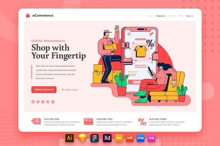 Thumbnail for Landing Page V.19 Ecommerce - Online Shopping