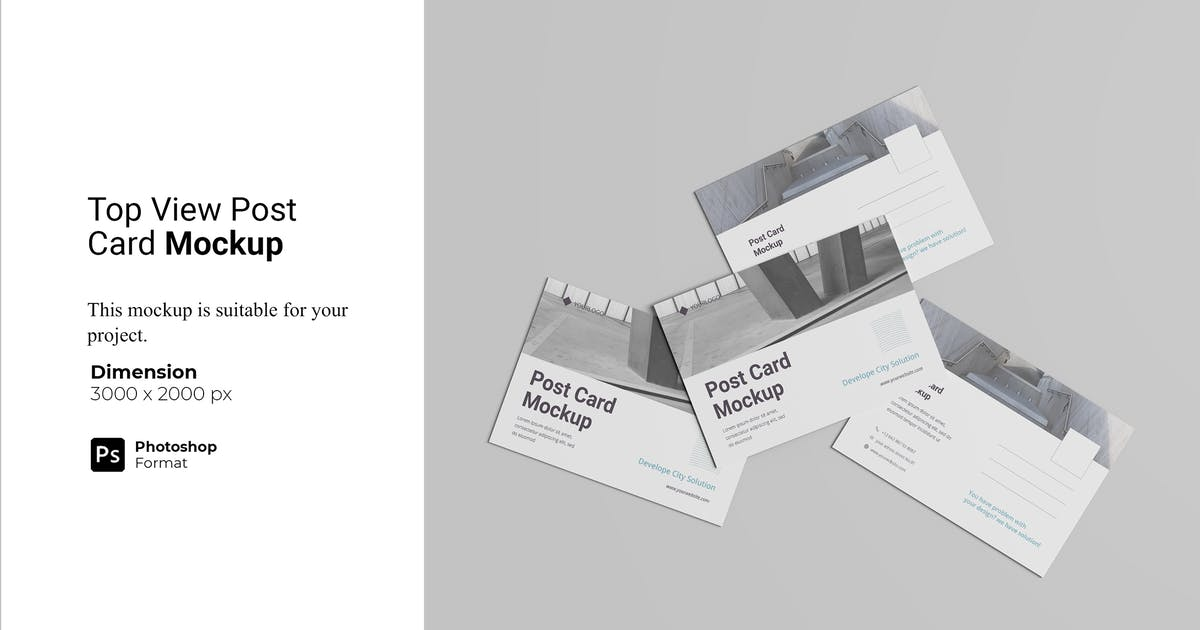 Download Top View Post Card Mockup by IanMikraz