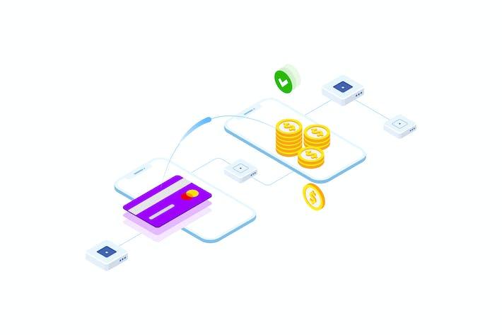 Thumbnail for Transfers Money on Blockchain Isometric 3 - FV