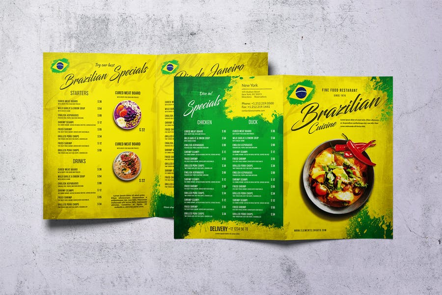 Brazilian Cuisine Bifold A4 & US Letter Menu