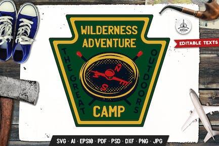 Wilderness Adventure Badge, Vector Retro Graphics