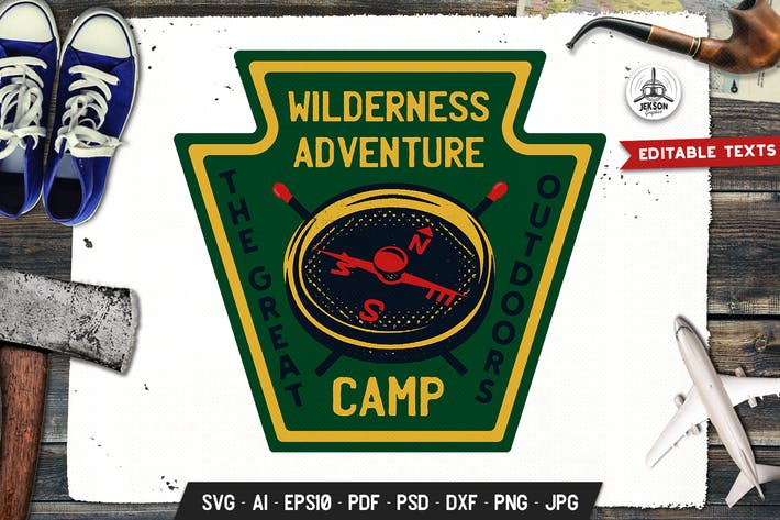 Thumbnail for Wilderness Adventure Badge, Vector Retro Graphics