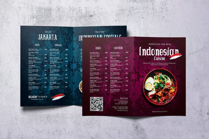Thumbnail for Indonesian Cuisine A4 & US Letter Bifold Menu