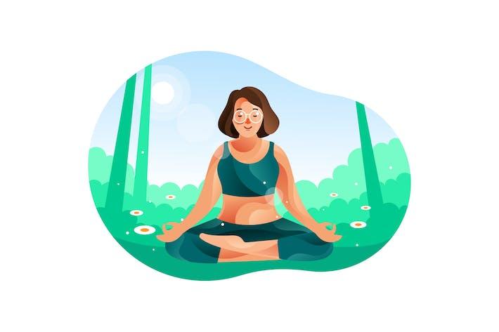Thumbnail for Женщина медитирует в природе с позиции йоги