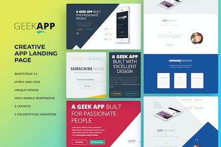 GeekApp - Creative App Landing Page HTML Vorlage