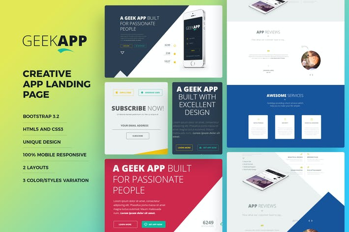 Cover Image For GeekApp - Creative App Landing Page HTML Template