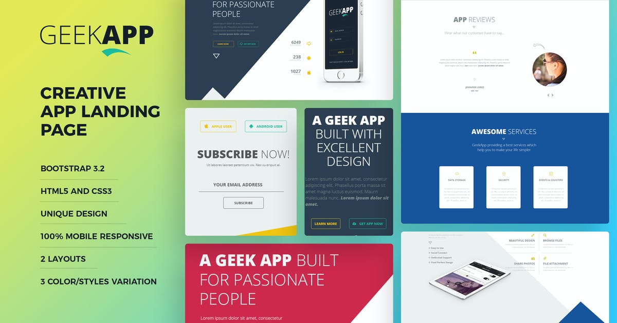 Download GeekApp - Creative App Landing Page HTML Template by webduck