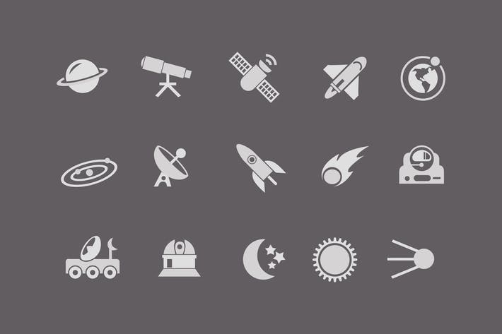 Thumbnail for 15 Icons des Weltraums und des Astronauten
