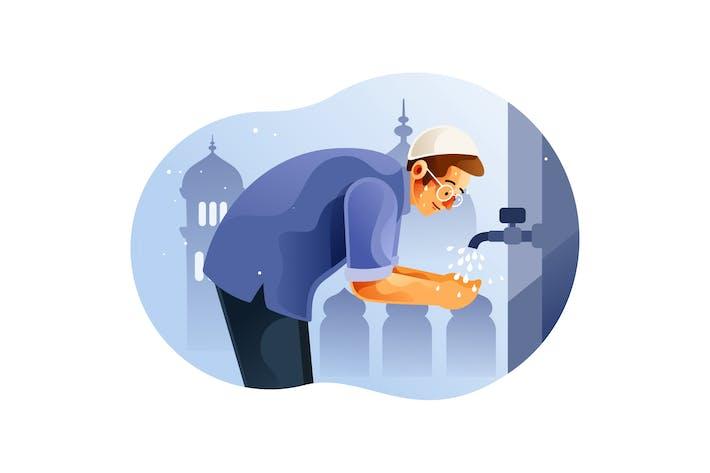 Thumbnail for Muslimischer Mann tut Waschung