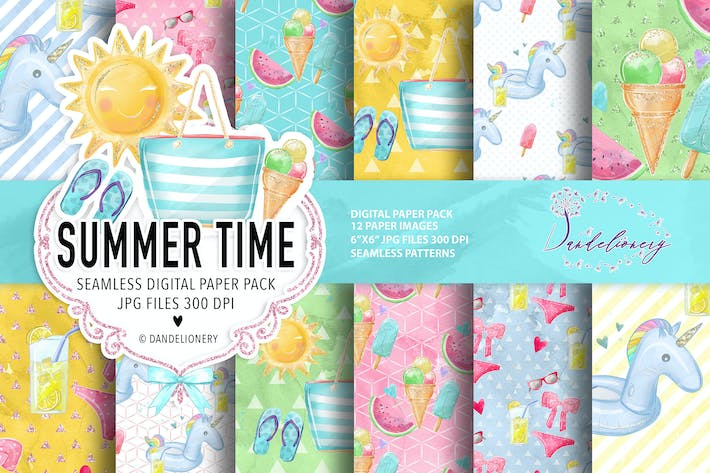 Thumbnail for Summer Time digital paper pack