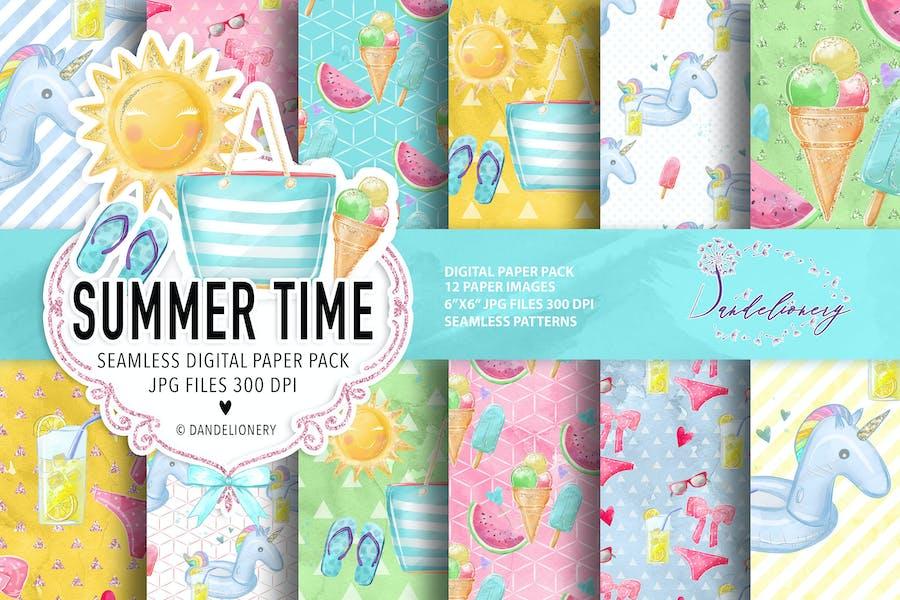 Summer Time digital paper pack