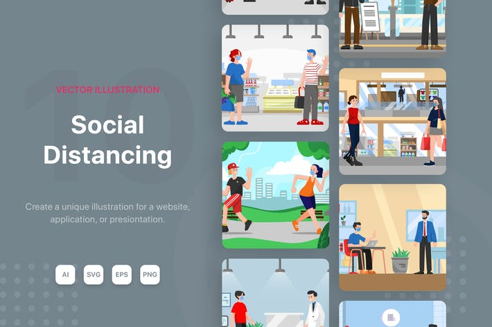 Thumbnail for Social Distancing Illustrations
