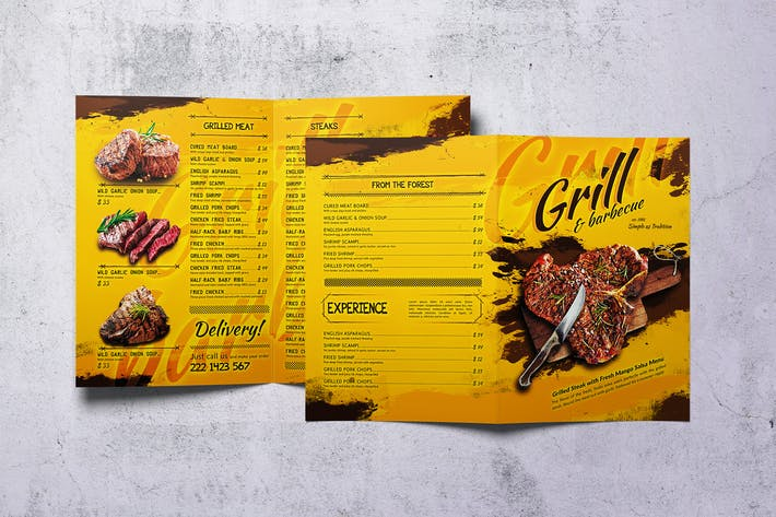 Thumbnail for Barbecue Bifold A4 et US Letter Food Menu