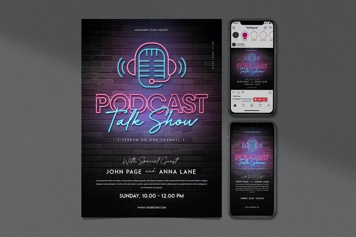 Thumbnail for Podcast Talkshow Flyer Set